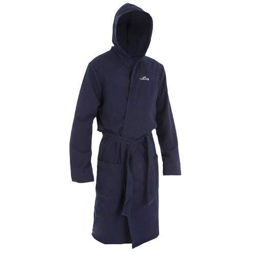 Peignoir coton léger natation homme bleu foncé avec ceinture, poches et capuche
