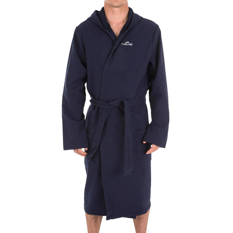 find workmanship top brands beauty Towels, bathrobes - Men's Lightweight Cotton Pool Bathrobe with Hood,  Pockets and Belt - Dark Blue