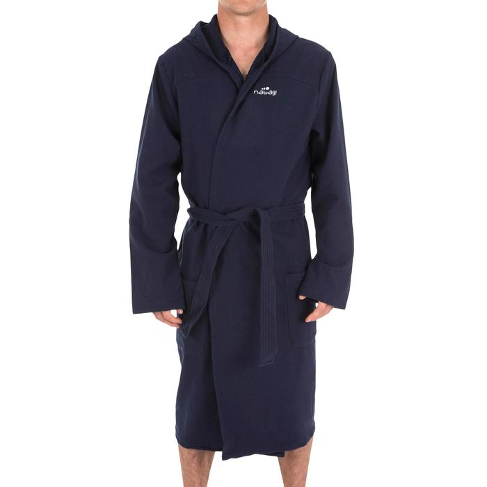 Bademantel Baumwolle leicht Gürtel Taschen Kapuze Herren dunkelblau