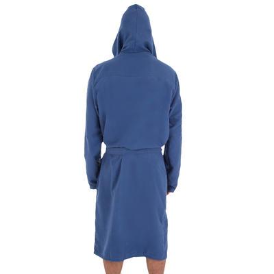 Dark blue men's microfibre pool bathrobe with hood, pockets and belt