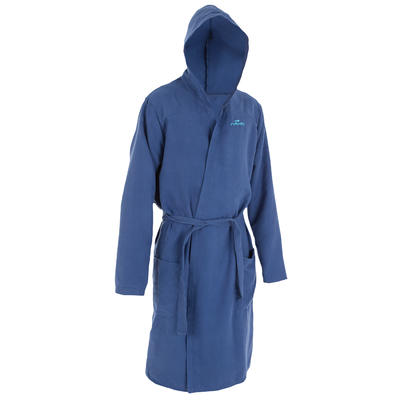 Dark blue men's microfibre pool bathrobe with hood, pockets and belt