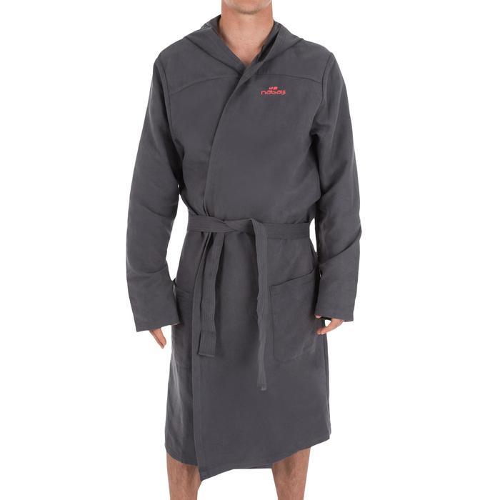 Microvezel herenbadjas met kap, zakken en riem, compact, donkergrijs