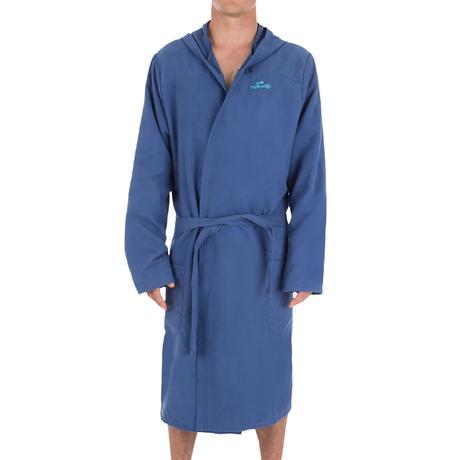 7a6cb5ab9a8e8 Peignoir homme bleu foncé compact et microfibre avec capuche, poches et  ceinture. Previous. Next