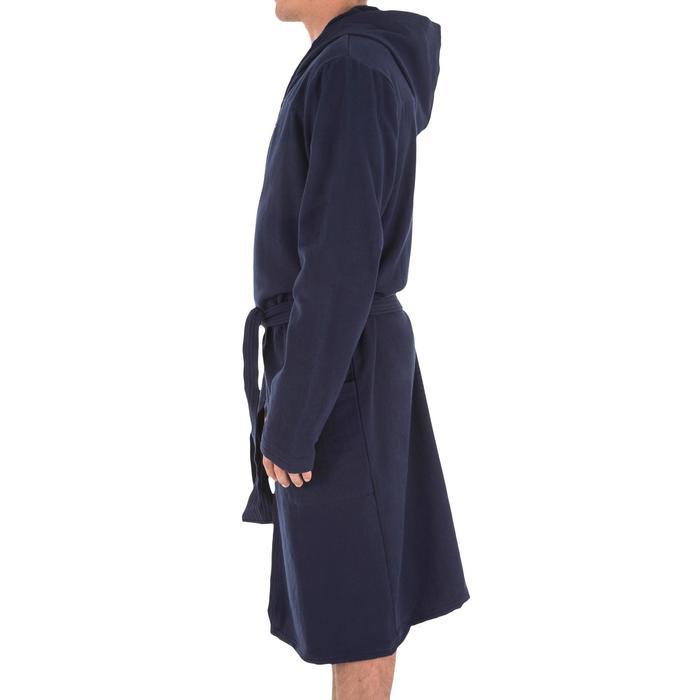 Lichte katoenen herenbadjas met capuchon, zakken en bindceintuur donkerblauw