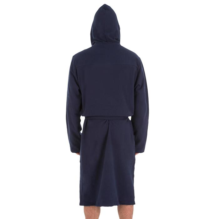 Lichte katoenen heren badjas met bindceintuur, zakken en capuchon donkerblauw