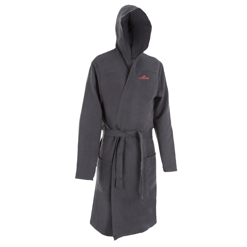 Bata de microfibra natación gris oscura con capucha, bolsillos y cinturón