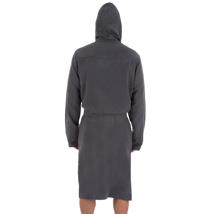 Microvezel heren badjas met capuchon, zakken en bindceintuur donkergrijs