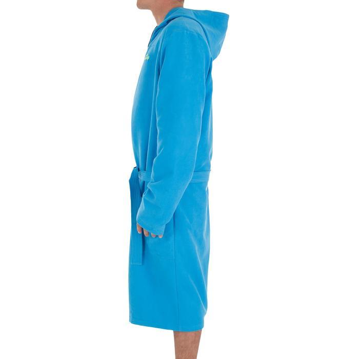 Albornoz hombre microfibra azul claro compacto con capucha, bolsillos y cinturón