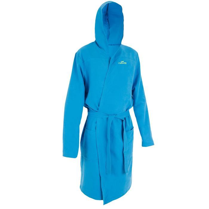 Compacte microvezel herenbadjas met capuchon, zakken en bindceintuur lichtblauw
