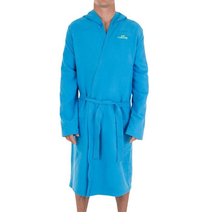 Albornoz hombre azul compacto y microfibra con capucha, bolsillos y cinturón