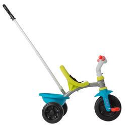 Driewieler met duwstang Be Move blauw/groen