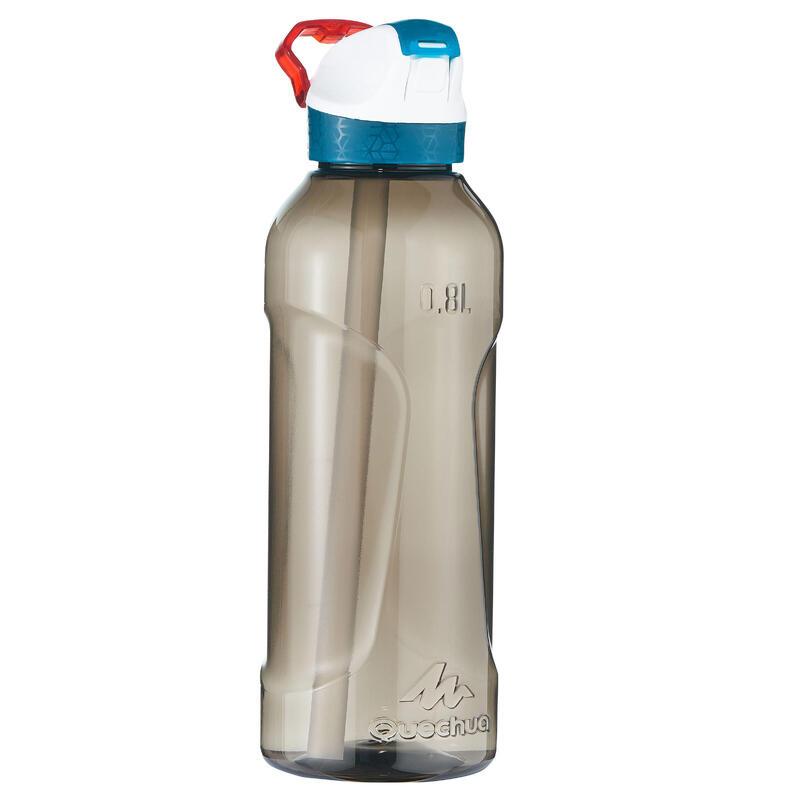 Cantimplora senderismo 900 tapa instantánea boquilla 0,8 L plástico Tritán negra