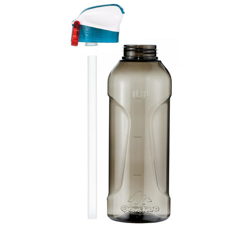 Hiking Water Bottle Instant Stopper with Straw 900 Tritan 0.8 Litre - Black