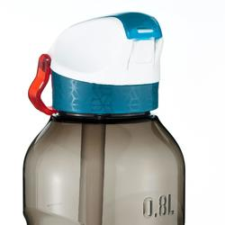 Drinkfles voor trekking 900 met sneldop en strootje 0,8L plastic (Tritan) zwart