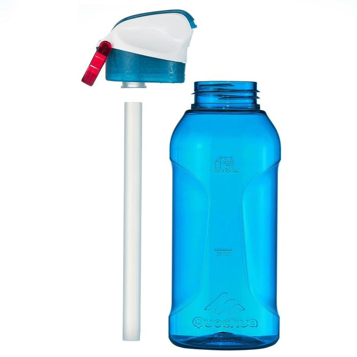 Hiking Water Bottle Instant Stopper with Straw 900 Tritan 0.5 Litre - Black