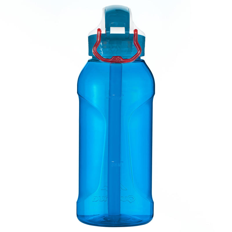 Hiking hydration 0.5 L water bottle with straw - blue