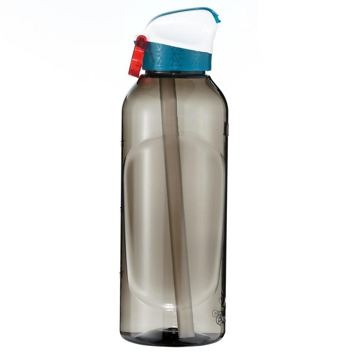 Drinkfles voor wandelen 900 sportdop en rietje Tritan 0,8 liter zwart
