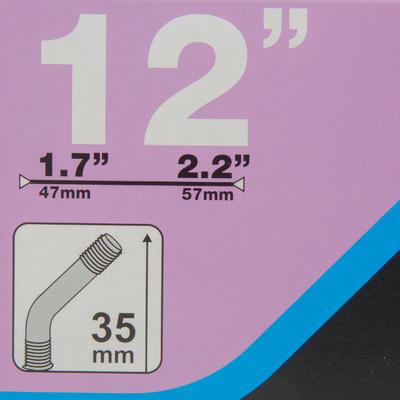 12x1.7-2.2 Angled Valve Bike Inner Tube - Schrader