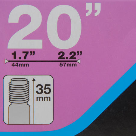 CÁMARA DE AIRE 20 X 1.7/2.2 VÁLVULA SCHRADER DE 35 MM