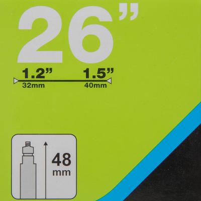 """פנימית 26X1.2/1.5 מ""""מ עם שסתום Presta - 48 מ""""מ"""