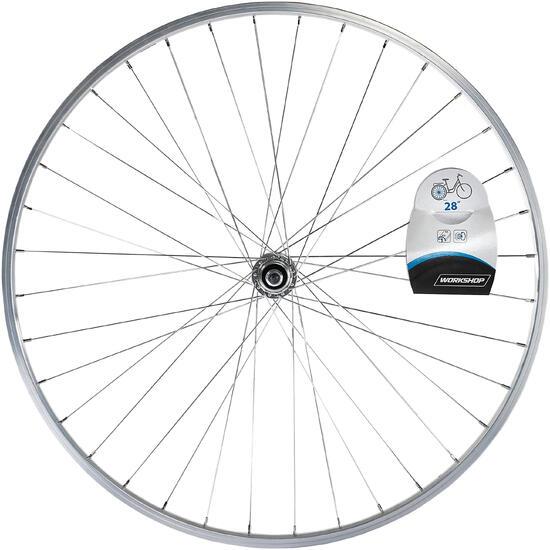 """Achterwiel hybride fiets 28"""" zilverkleurig - 1043155"""