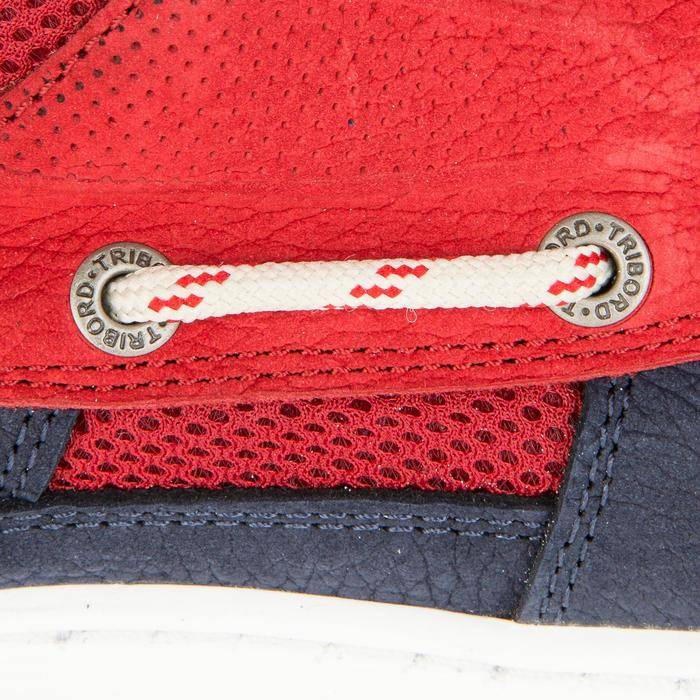 Segelschuhe Clipper Leder Herren blau/rot