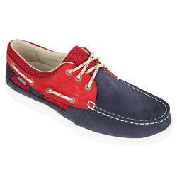 Zapatos náuticos de cuero para hombre CLIPPER azul/rojo