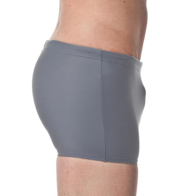 100 MEN'S BOXER SWIMMING SHORTS - BASIC GREY