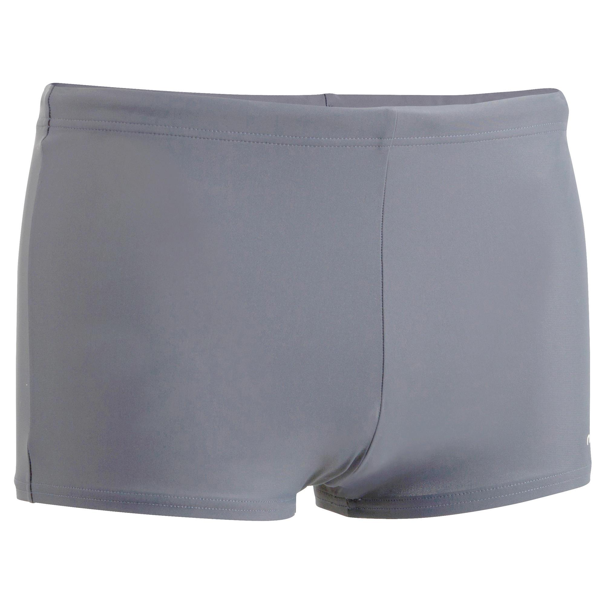 100 Men S Basic Boxer Swim Shorts Grey Nabaiji