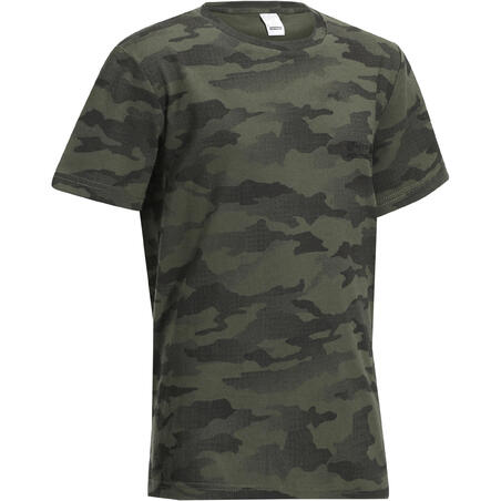 Kids Short-Sleeved T-Shirt 100 Camouflage Half-Tone Green