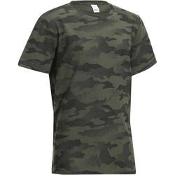 T-shirt de Caça Manga Curta Criança 100 Camuflado Halftone Verde