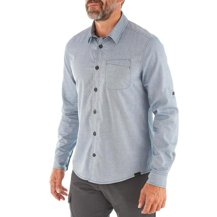 Heren overhemd Travel 100 warm blauw