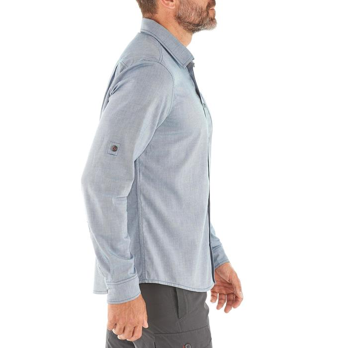 Camisa TRAVEL 100 warm hombre azul