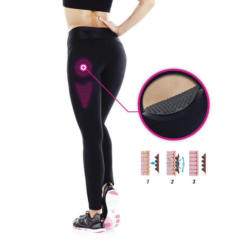 Calzas reducción celulitis fitness cardio mujer negras Shape Booster Domyos