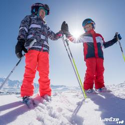 CHILDREN'S DOWNHILL SKIS WITH BOOST 500 BINDINGS - WHITE
