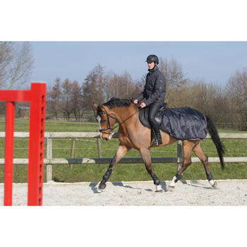 Manta riñonera equitación caballo y poni ALLWEATHER negro