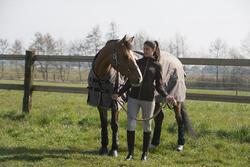 Halstertouw in leer en katoen ruitersport pony en paard 2,5 m - 1046143