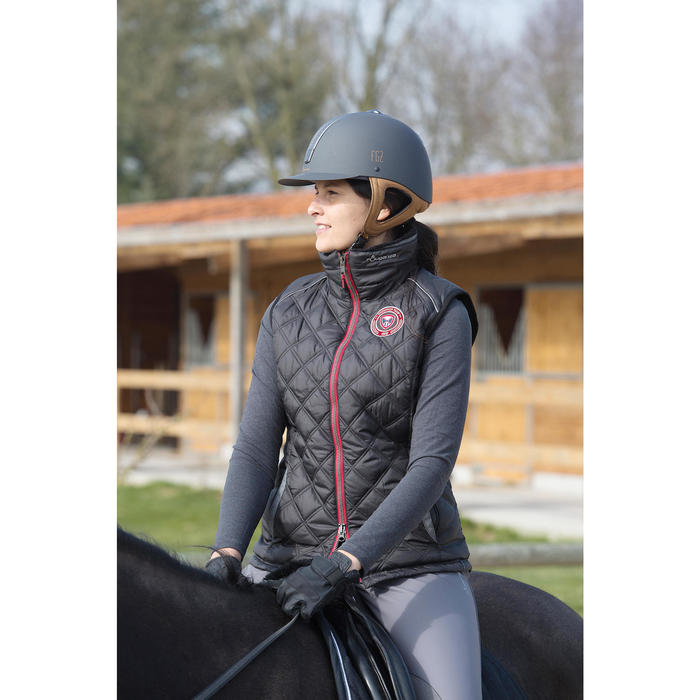 Gilet doudoune sans manches équitation femme PERFORMER noir/gris chevron