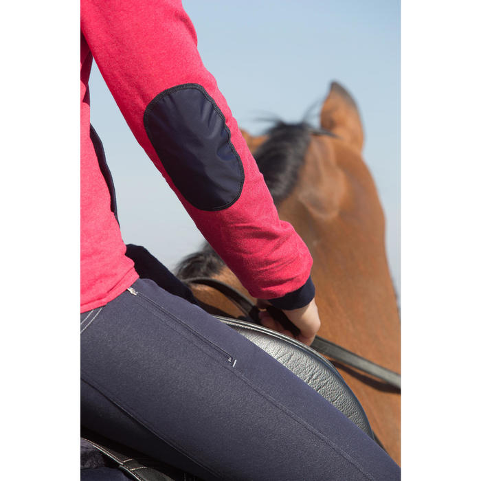 Pantalon équitation femme BR500 basanes marine - 1046185