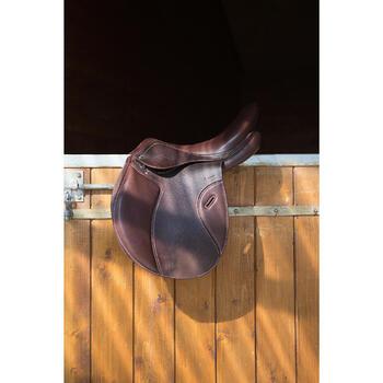 """Selle polyvalente en cuir à arçon réglable équitation cheval PADDOCK 17""""5 - 1046320"""