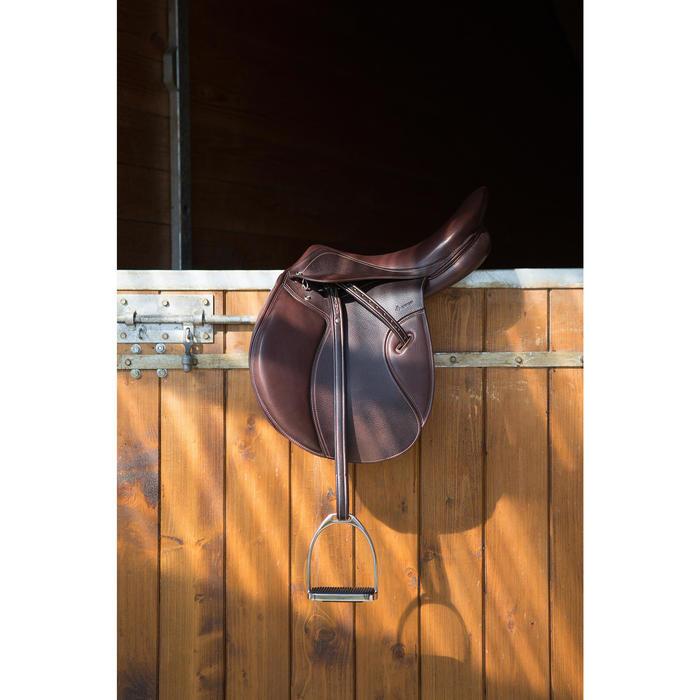 """Selle polyvalente en cuir à arçon réglable équitation cheval PADDOCK 17""""5 - 1046322"""