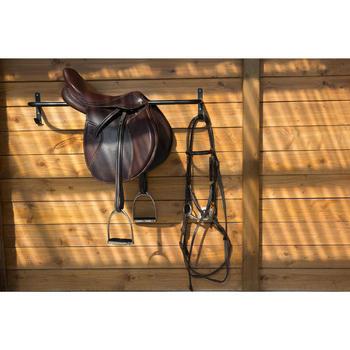 """Selle polyvalente en cuir à arçon réglable équitation cheval PADDOCK 17""""5 - 1046323"""