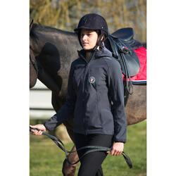 Veste à capuche équitation femme 500 SOFTSHELL gris foncé