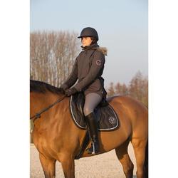 Warme parka ruitersport dames Paddock donkergrijs