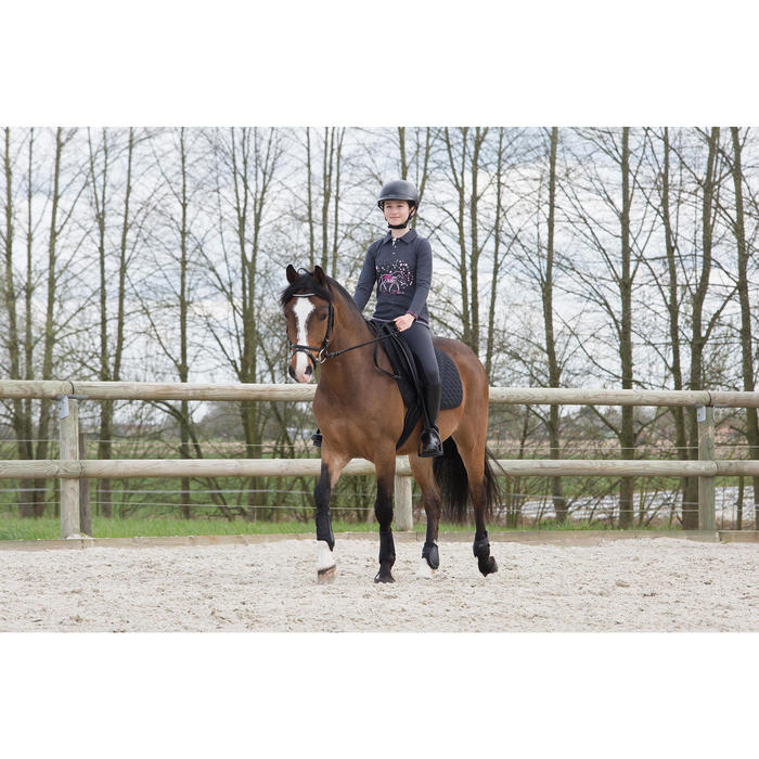Fullseat Children's Horse Riding Jodhpurs - Black/Grey - 1048798
