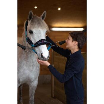 Polo de manga larga equitación para niños HORSE azul marino