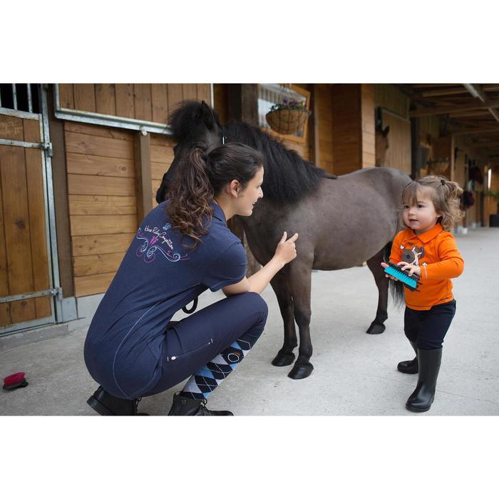 Polo manches courtes équitation femme logo ROYAL bleu marine et chiné - 1048853