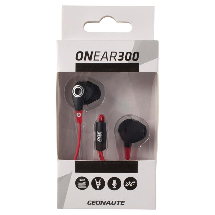 ONear 300 Wired Sports Earphones With Microphone - Black Red - 1048990