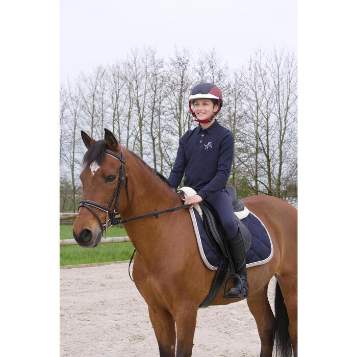 Jongenspolo Horse met lange mouwen ruitersport marineblauw