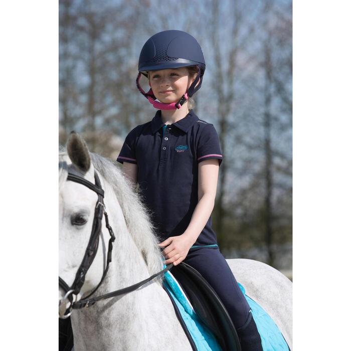 Polo manches courtes équitation enfant brodé HORSERIDING marine - 1049161